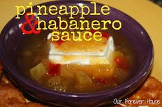 Our Forever House: Pineapple & Habanero Sauce Knock-Off (yum, sweet n spicy! Pineapple Habanero Sauce, Habanero Recipes, Sauce Recipes, New Recipes, Favorite Recipes, Copycat Recipes, Healthy Recipes, Roasted Pineapple, Hot Pepper Jelly