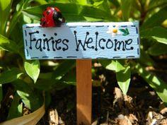 Fairy Garden Sign Fairies Welcome Sign Fairies by gardenflowers1, $6.95