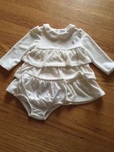Ralph Lauren Layette Ivory White Velour Winter Dress 9 Months Matching Bloomers | eBay