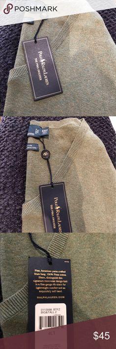 Ralph Lauren men's V neck sweater Ralph Lauren green v-neck sweater 100% Pima cotton.. very soft and comfortable Ralph Lauren Sweaters V-Neck