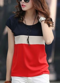 Round Neck Color Block Short Sleeve T-Shirts Fashion girls, party dresses long dress for short Women, casual summer outfit ideas, party dresses Fashion Trends, Latest Fashion # Cheap Fashion, Womens Fashion, Latest Fashion, Fashion Online, Cheap Womens Tops, Trendy Outfits, Fashion Outfits, Cheap Outfits, T Shirts For Women