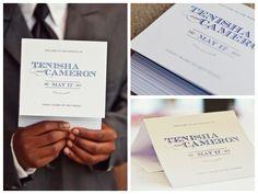 Tri-fold wedding ceremony program, folded program