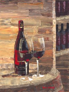 Two glasses of red wine on a barrel    16x12,    acrylic on canvas    Sold  Will Enns Art Studio, Summerland BC, Ca