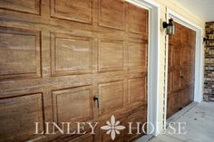 How to paint metal garage doors to look like wood, carriage house style doors.