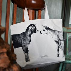 The goat tote featuring two baby goats from this year's kidding season...only at Beekman1802.com