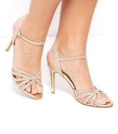 Gold Shimmer Cross Strap Heel Sandals