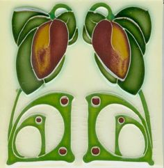 Art Tile, Art Nouveau Flowers, Red and Gold with Green Vines on Cream