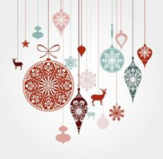 Hanging Christmas Holiday Ornaments Vector