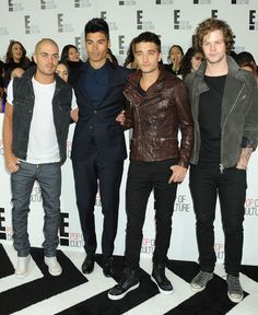 The band The Wanted arrives leather-clad and casual.