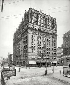 """Buffalo, New York, circa 1905. """"Hotel Iroquois."""" A nice selection of ghost pedestrians in this time exposure. Detroit Publishing Co."""