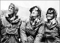 The first conquerors of Everest, Edmund Hillary (left) and Sherpa Tenzing Norgay (right), with expedition leader Colonel John Hunt (center) in Kathmandu, Nepal, after descending from the peak. May 2013 celebrated the Anniversary of the great climb. Top Of Mount Everest, Missed In History, Monte Everest, 60th Anniversary, Recent Events, Top Of The World, Mountaineering, Climbers, Trekking