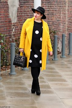 Yellow Coat and Polka Dots - wearing: Zara TRF coat, Carmakoma dress, Young Spirit boots, H+M Divided hat, Lady Dior bag and Dior earrings