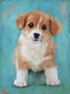 Cute Puppy beagle Dog baby painting with Blue I don't use oil painting equipment, I convert photo to portrait or picture to portrait painting handmade, traditional style, but in digital way Visit my art gallery online ( online art site ) where you can get