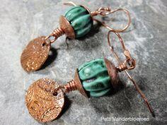 Copper and Ceramic Bead Earrings by PattiVanderbloemen on Etsy, $35.00