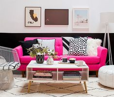 Mostly people are afraid and over conscious of buying a colorful couch. People prefer couches in self-colors and plain shades. This is because they can't handle colors of the couch to go in harmony with the rest if color scheme. Here in below idea you can have an idea to decorate a room with a colorful couch placed at the center.
