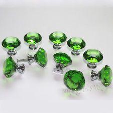 Lot of 10 Diamond Shape Crystal Glass Drawer Pull Cabinet Knob Handle 30mm Green