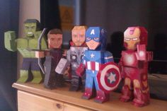 My Paper Heroes: Marvel's Avengers Papercraft (Templates for each at the link!) my kids are in heaven making these for an indoor afternoon activity. Need double sided sticky tape Paper Crafts For Kids, Diy Paper, Avengers Birthday, Paper Dolls Printable, Thinking Day, Superhero Party, Paper Toys, Art For Kids, Activities For Kids