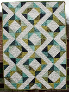 baby quilt in neptune fabrics- love the colors!