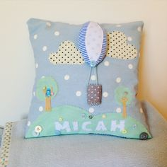 Personalised 3D Hot air balloon cushion by GraceJamesHandmade on Etsy