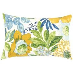 "Accent pillow with a floral motif. Made in the USA.   Product: PillowConstruction Material: Cotton and polyester fillColor: White, blue, green and yellow Features:  Zipped closure Insert includedMade in the USA Dimensions: 12.5"" x 19""Cleaning and Care: Hand or spot clean"