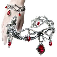 Passion Pewter Thorn and Blood Drop Bracelet AG-A80 by Alchemy Gothic Gothic, Vampire & Steampunk | Gothic Jewelry | Demonia