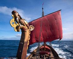 The ship, a reconstruction of an ancient Viking longship, followed the route of 11th centu...