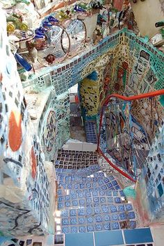 , Mosaic stairs in the Magic Gardens. , Mosaic stairs in the Magic Gardens Mosaic Garden, Mosaic Art, Mosaics, Gaudi Mosaic, Pebble Mosaic, Garden Art, The Places Youll Go, Places To Go, Philadelphia Magic Gardens
