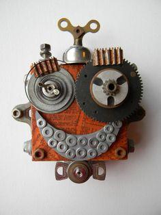 Recycled Art Assemblage  Beanie Bot  Original Mixed by redhardwick,  jen-hardwick.com