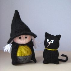 Wanda the Witch knitting pattern with little black cat - Download at LoveKnitting