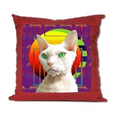 Suede Pillow White Cat (purple) geometric