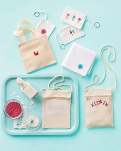 Help kids make their own stencils using craft punches, then use glitter to transfer the design onto fabric totes, pouches, bandannas, and tees.