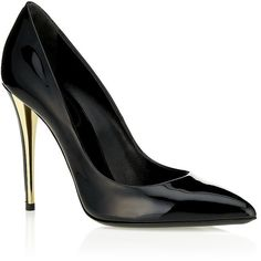 Yves Saint Laurent Clara Patent-Leather Pump ❤ liked on Polyvore