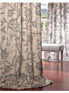Sophie Embroidered Cotton Crewel Curtain Sheer Curtains Window D Blackout
