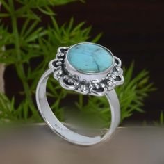 DESIGNER 925 SOLID STERLING SILVER TURQUOISE RING 4.85g DJR10856 SZ-8 #Handmade #Ring