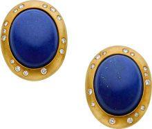 Estate Jewelry:Earrings, Lapis Lazuli, Diamond, Gold Earrings, Tiffany & Co.. ...