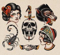 Traditional Tattoo Flash Sheets, Traditional Tattoo Skull, Traditional Tattoo Sketches, Traditional Flash, American Traditional, Traditional Tattoo Inspiration, Dope Tattoos, Head Tattoos, Punk Tattoo