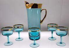 VTG Hungarian Gilded Aqua Blue Pitcher & Footed Glasses
