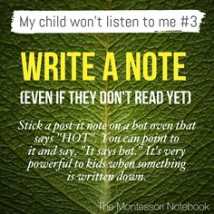 My child won't listen to me - a series by The Montessori Notebook