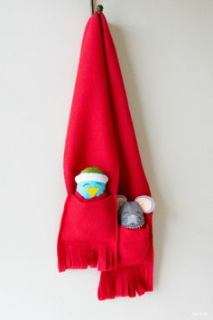 Make a scarf for kids to carry along their pocket buddies.
