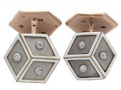 0.24 ct Diamond, Platinum Set, 14 ct Rose Gold Cufflinks - Antique French Circa…