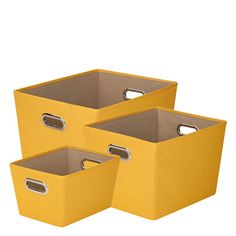 3-Piece Canvas Storage Bins - in yellow, green and blue