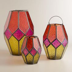 Warm Multicolor Hanging Hurricane Lantern | World Market