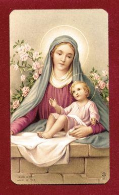 SANTINO VERGINE MARIA  CON GESU BAMBINO IMAGE PIEUSE - HOLY CARD-  Heiligenbild