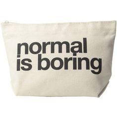 Dogeared Normal Is Boring Lil Zip (Black/Canvas) Bags ($24) ❤ liked on Polyvore featuring bags, print bags, print canvas bag, zip close bags, canvas zip bag and zip top bag