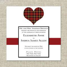 Scottish Wedding Invitation Tartan Heart by CremePaperie on Etsy, $127.00