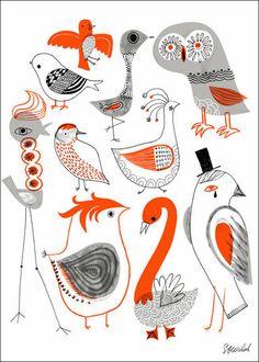 Oopsy Daisy - Canvas Wall Art Kooky Birds By Sarah Walsh, Size: 18 x Orange Bird Canvas, Canvas Wall Art, Vogel Illustration, Grafik Design, Bird Prints, Bird Art, Doodle Art, Bird Doodle, Beautiful Birds