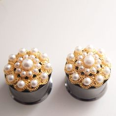 3/4 19mm Golden Pearl Plugs   Wedding Prom Formal by Glamsquared