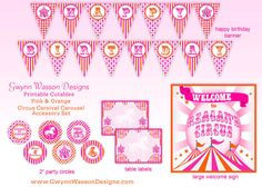 Circus Party Carnival Party Carousel Party Decorations Orange and Pink HUGE PARTY SET  - Gwynn Wasson Designs Printables. $35.00, via Etsy.