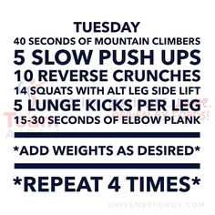 Driven By Fords One Week No Equipment At Home Daily Workout Plan