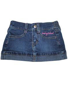 3 PIECE Set: Baby Phat Infant Girls T Shirt & Denim Skirt 12M Multicolor